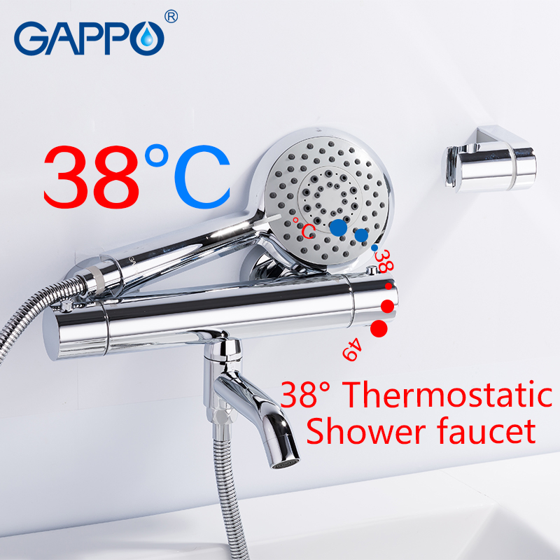 GAPPO shower faucet thermostatic bathroom mixer tap wall mounted shower head set bathtub faucet brass taps