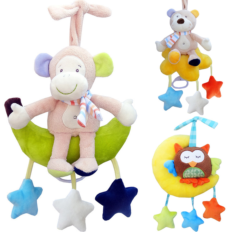 Plush Infant toy for newborns Baby Development Soft Animal Handbells Rattles Handle baby educational Stuffed toys music box ZJD