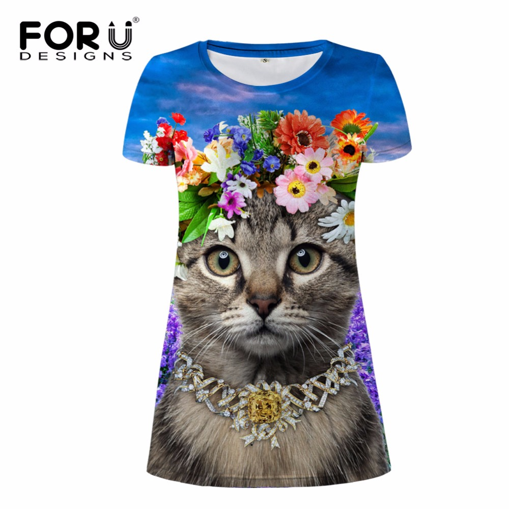 FORUDESIGNS 3d animal gato impressão vestidos de mulheres, moda - Roupas femininas