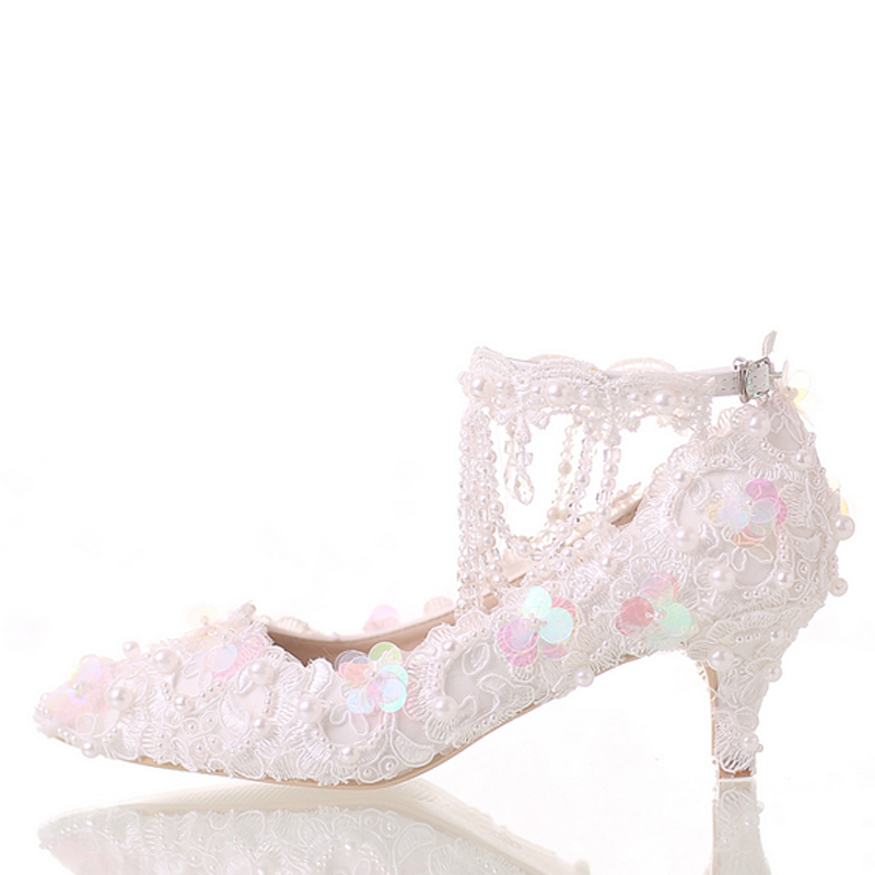 Luxury White Pointed Toe Bride Shoes Lace Platform Formal Dress Shoes with Ankle Straps Glitter Sequins Party Prom Pumps