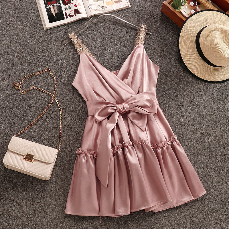 New Summer Sexy Dress Women Super Fairy Temperament Sleeveless Shoulder Bra Sling Dress Girl Lady Birthday Party Dresses Vestido