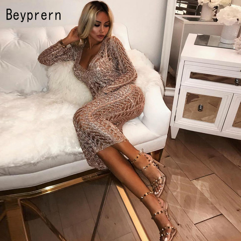 09874434e6 Beyprern Sexy Open Back Deep V Neck Plain Long Sleeve Maxi Dress Stretchy Sheer  Metallic Knitted