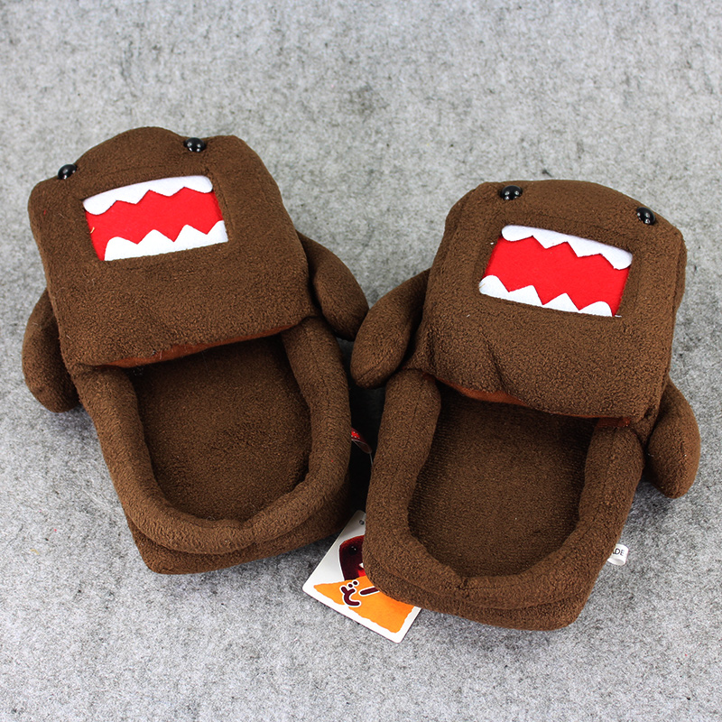 1 Pair 27cm Domo Kun indoor Slippers Plush Shoes Warm Winter Adult Slipper Toy Christmas Gift