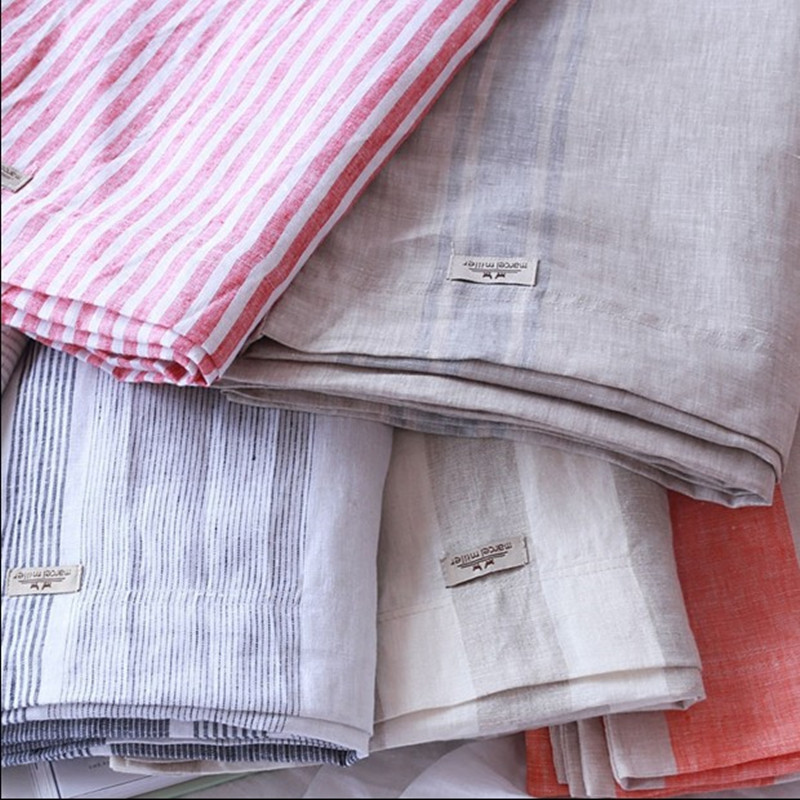 Extra Wide 110 Inch Linen Fabric 100 Pure Flax Cloth Stone Washed Stripe Soft Medium Weight 4cm Grey And Ivory