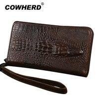COWHERD New Men Women Clutch Wallet Long Zipper Purse First Layer Genuine Cow Leather Crocodile Pattern