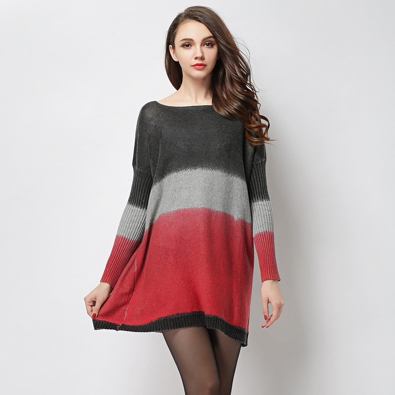Women's Winter Dress 2018 Brand New Fashion Loose Wool Blend Sweater Knitted Dress Casual Plus Size Pullovers for Women HX6074 italian light high quality 2017 autumn winter new brand women s wear national knitted wool sweater dress plus size s xxl 4 color