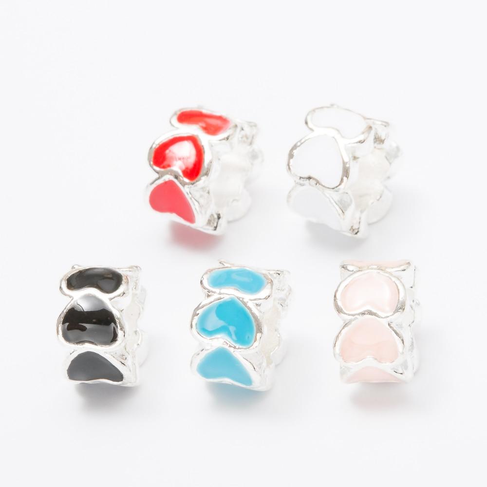 20pcs Crystal heart European beads Fit Pandora Charms Original Bracelet Spacer Charm Beads Jewelry Making DIY js1471