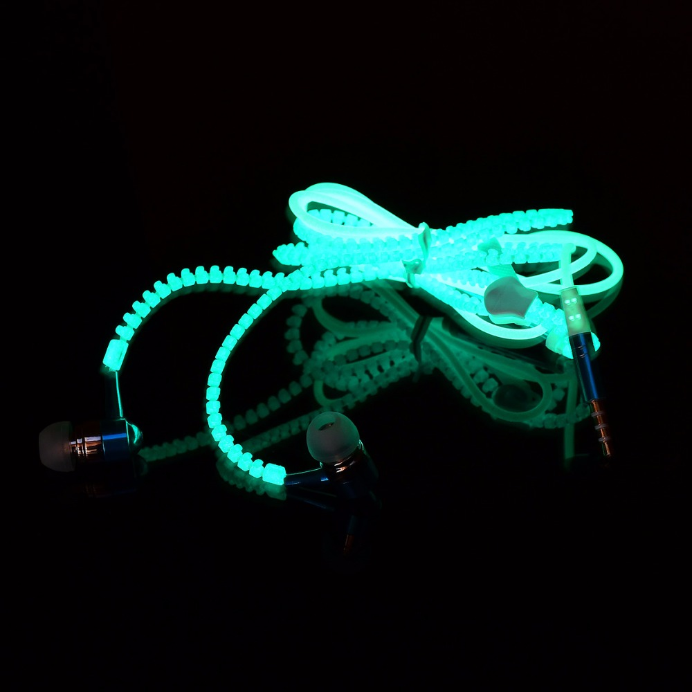 Glow In The Dark Metal Earphones Earbuds With Microphone Glowing Zipper Light Stereo Handsfree Earpiece Blue Green Pink Color