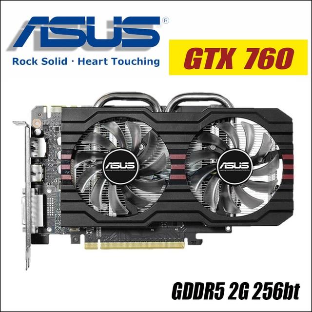 Видеокарта ASUS Графика карты GTX 760 2 GB 256Bit GDDR5 видеокарты для nVIDIA карты Geforce GTX760 HDMI Dvi 1050 gtx 750 gtx750