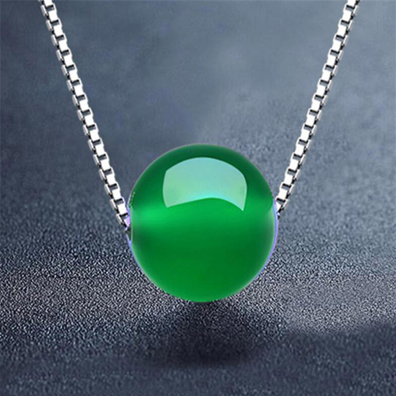 Yu Xin Yuan Natural Jade Medullary 14mm Green Round Bead Necklace Pendant With Free 925 Silver Chain For Women Jewelry
