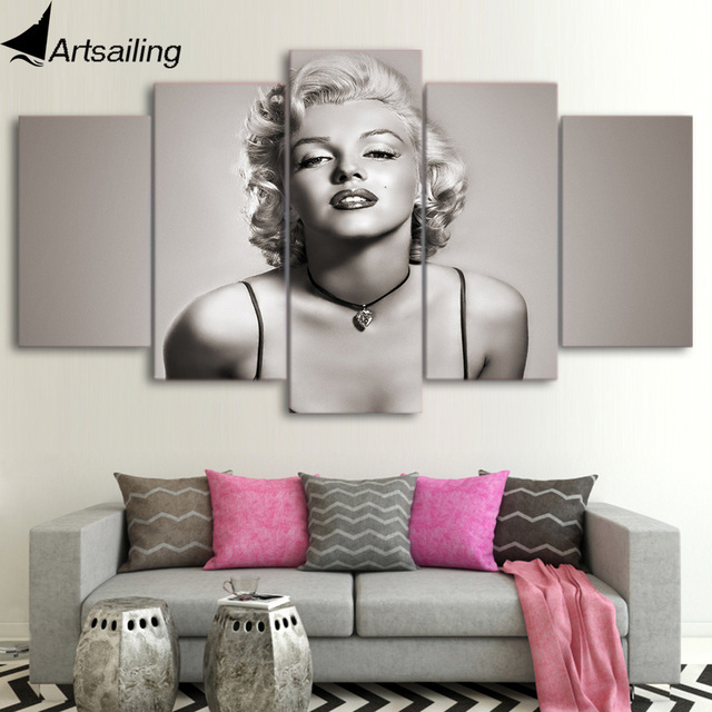 ArtSailing Canvas Paintings 5 Pieces Marilyn Monroe Wall Art Canvas  Pictures For Living Room Bedroom Modular