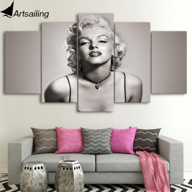 ArtSailing Dipinti Su Tela 5 Pezzi Marilyn Monroe Wall Art Quadri Su ...