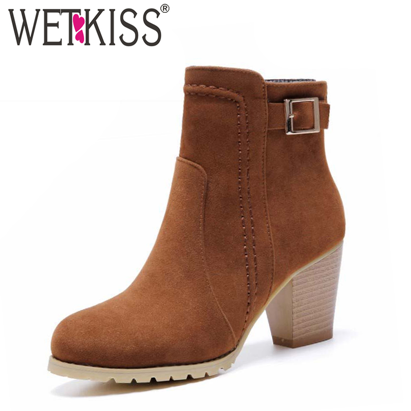 WETKISS Women Boots Buckle Strap Ankle Boots Thick High Heels Platform Shoes Woman Autumn Boots Winter Women's Shoes Size 32-43 collar color block striped dress