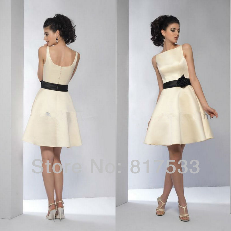 cream yellow a line elegant knee length dresses junior bridesmaids ...