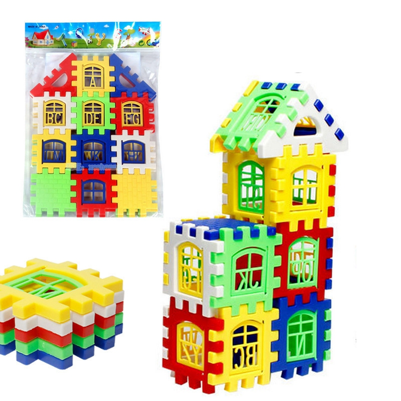 Hot Toddler House Building Blocks Toy Children DIY 24Pcs/Set Model Building Kits Babys Assembling Developmental Brain Games Toys