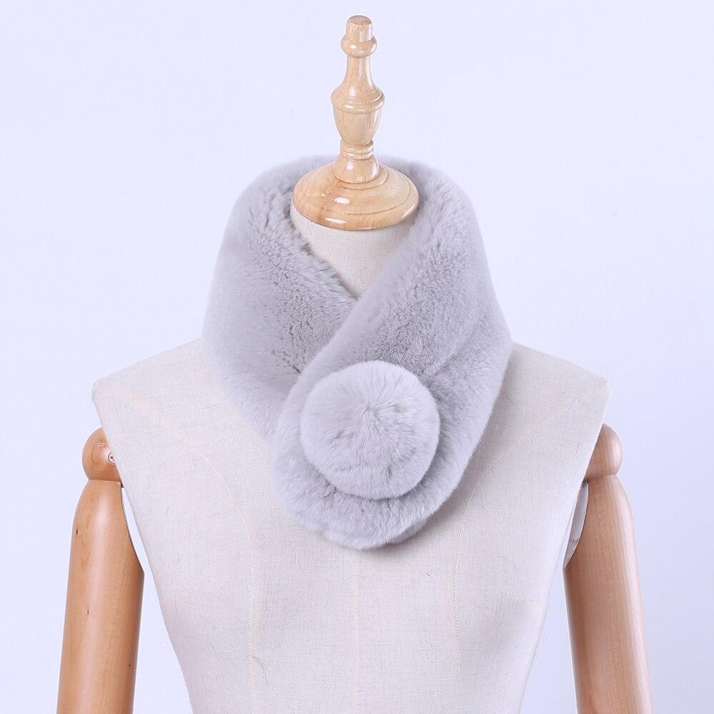 Genuine Rex Rabbit Fur Women's Winter Warm Real Fur Scarf Wraps Lovely Girl's Mufflers Snood Scarves Skiing Bandelet Soft Solid