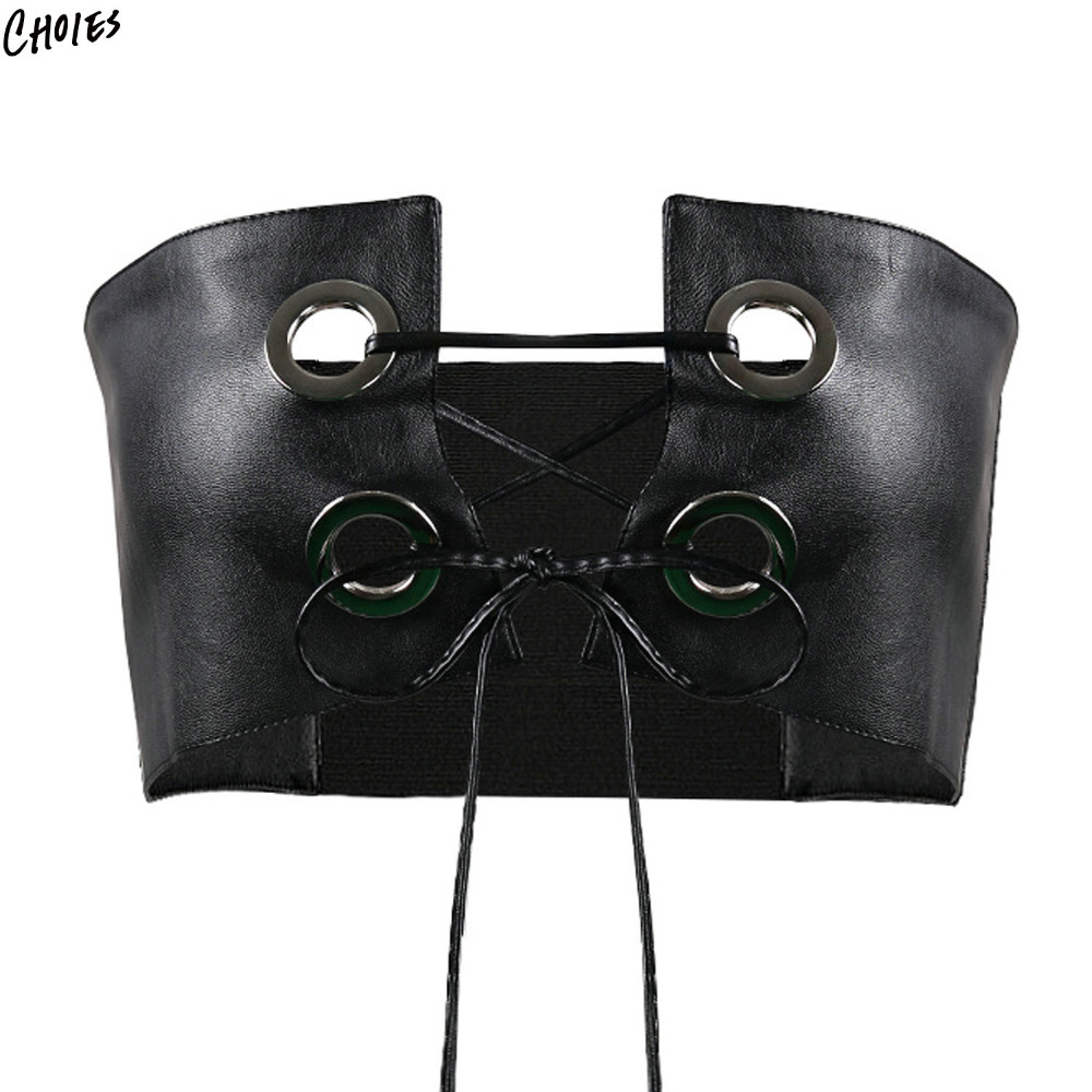 Black Off Shoulder Eyelets Lace Up Front PU Leather Strapless Bralet Women Sexy Backless Crop Top Wear