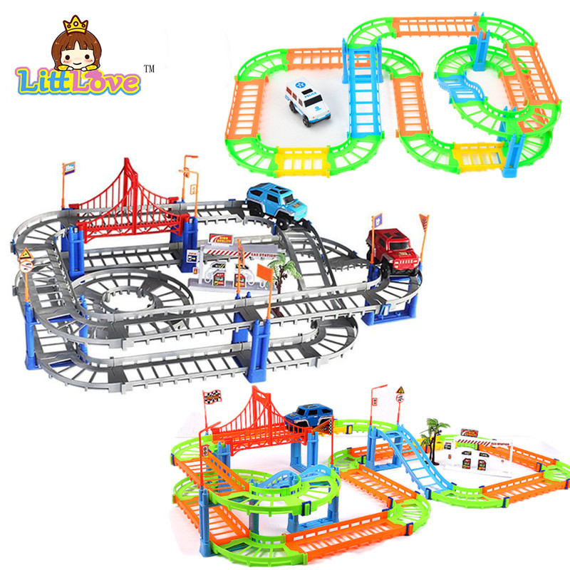 2017 New Racing Track Set 78Pcs/Set Race Track with Car Assembly Glowing Tracks Vehicle Train Toys For Children