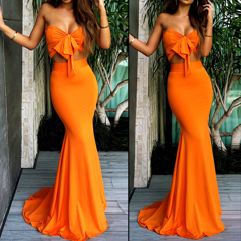 Women's suit Summer Holiday Sleeveless Bow Crop Top And Long Skirt Orange Color Hot Two Piece Sets
