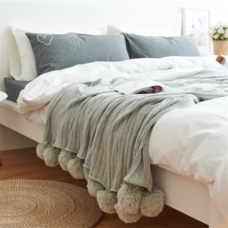 2016 1-Piece Cotton Blanket Solid Color Throw Blanket On the Bed King Size Machine Washable 150x200cm image