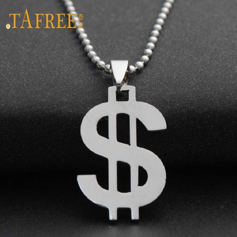 TAFREE US Dollar Money Necklace Pendant  Stainless Steel Bead Chain For Women&Men Hip Hop Jewelry SQ042