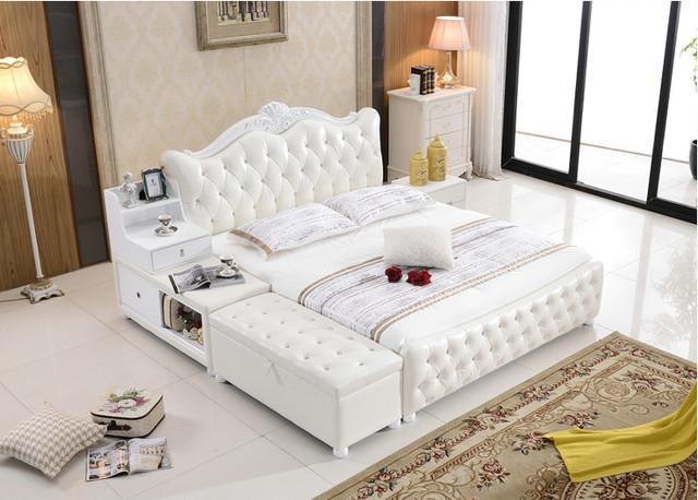 Otomano del almacenaje de diamantes copetudo contemporáneo muebles de dormitorio moderno cama de cuero genuino hechos en China