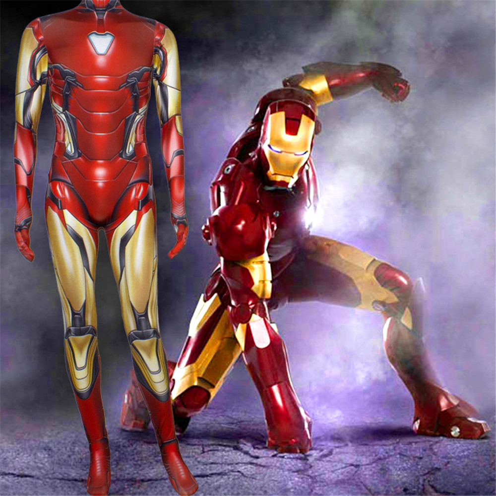 Iron Man Tony Stark Character Cosplay Costume Tony Stark Avengers Lycra Adult Kids Spandex Zentai Suits Zip Ironman Costume