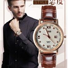 De cuarzo de hombres reloj 2016 rood marca correa de cuero reloj para hombre impermeable reloj de los hombres relojes de diamantes en oro rosa placa relojes de pulsera