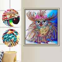 5D DIY Diamond Painting, Special Shaped Diamond Painting,Diamond Embroidery, Partial Round Drill, Animal, Owl, Cross Stitch
