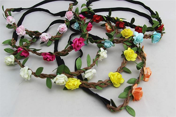 Women'SHandmade Floral Crown Flower Headband Hair Garland Wedding Headpiece   Headwear   Flower 7Colors Hair Accessories