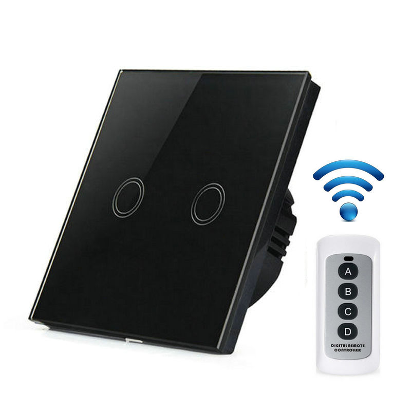 EU Standard Wall Wireless Remote Control Touch Screen Crystal Glass Panel Switch, 2 Gang Light Wall Touch SwitchEU Standard Wall Wireless Remote Control Touch Screen Crystal Glass Panel Switch, 2 Gang Light Wall Touch Switch