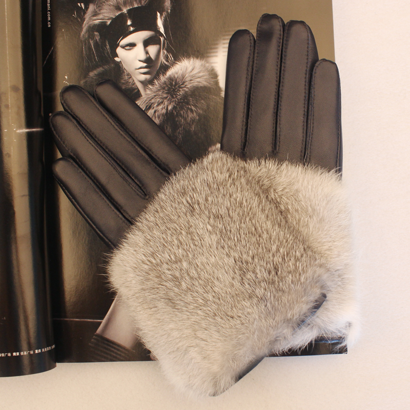 Lady genuine sheep leather gloves natural  rabbit fur gloves fur real leather sheepskin women's thermal gloves