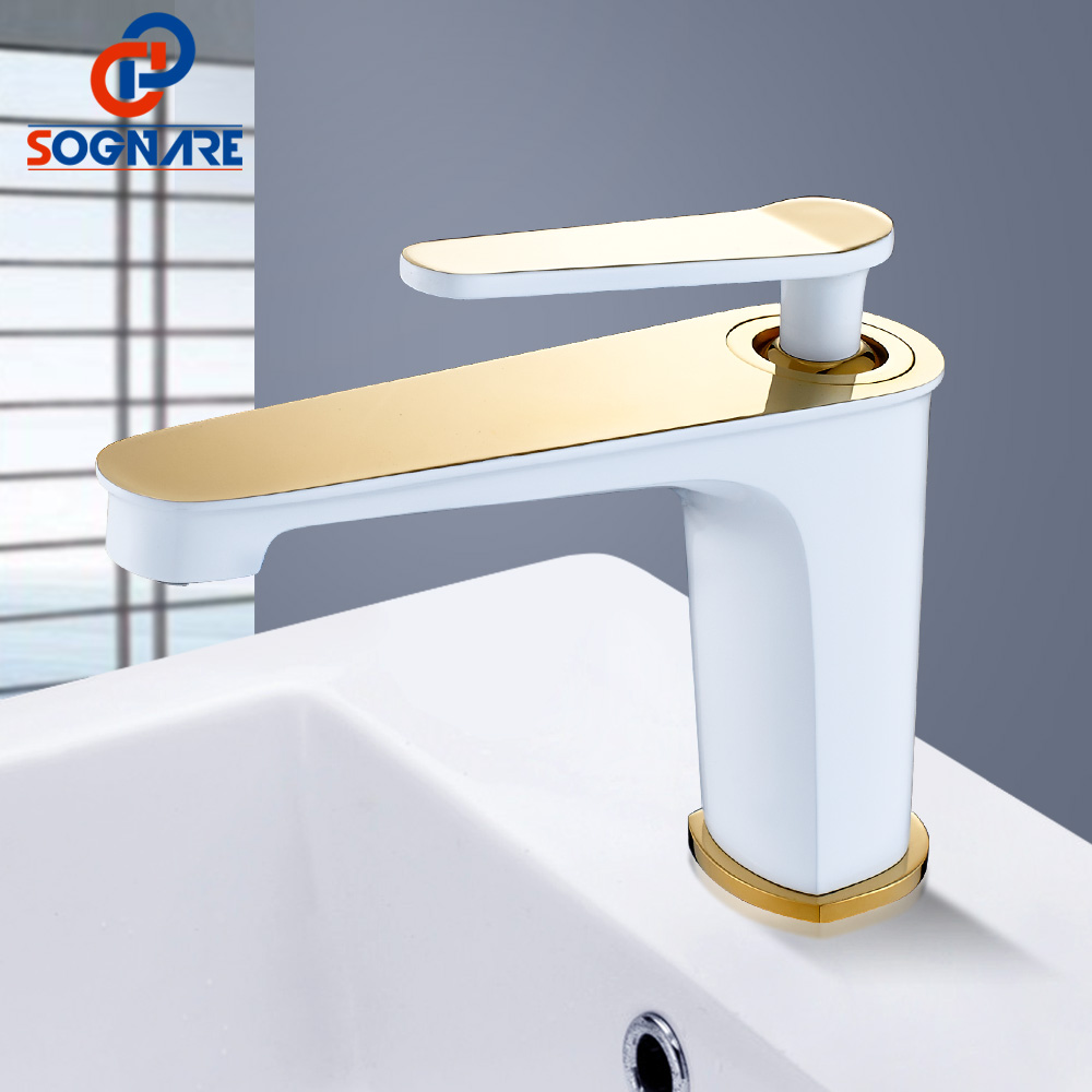 SOGNARE Bathroom Faucet White&Golden Hot Cold Water Tap Water Bathroom Tap Single Lever Mixer Tap Brass Basin Mixer Vintage Taps micoe hot and cold water basin faucet mixer single handle single hole modern style chrome tap square multi function m hc203