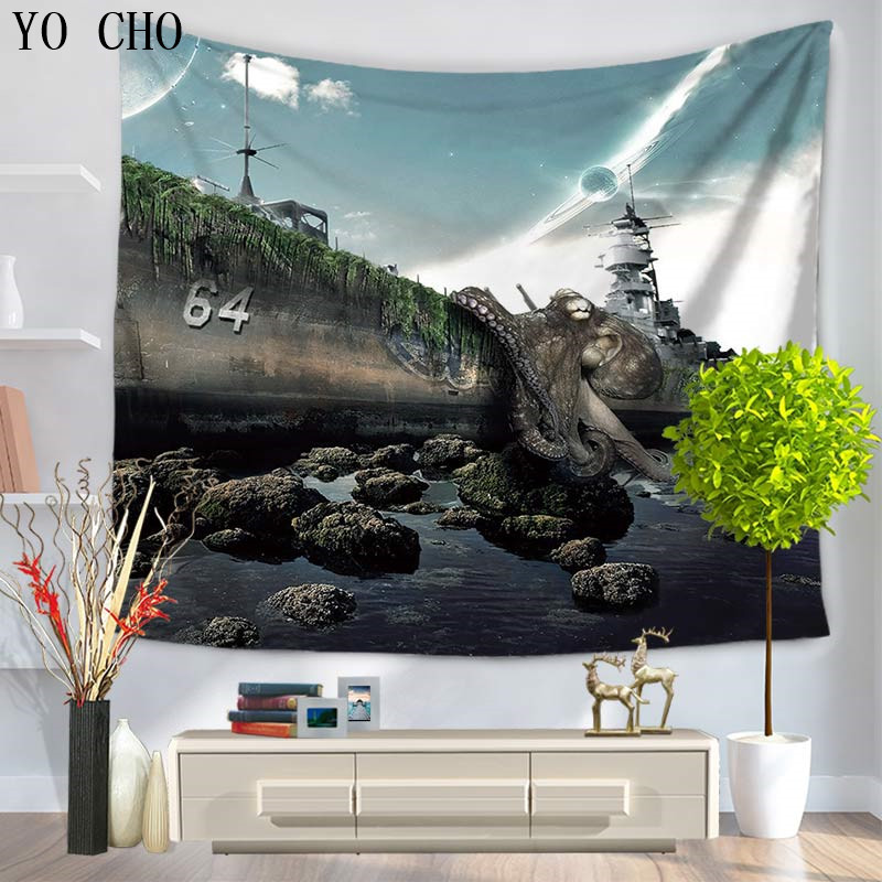 YO CHO Octopus Hippie Indian Tapestry Mandala Throw Wall Hanging Bedspread Indische <font><b>Tagesdecke</b></font> Yoga Towel Wall Cloth Tapiz Pared image