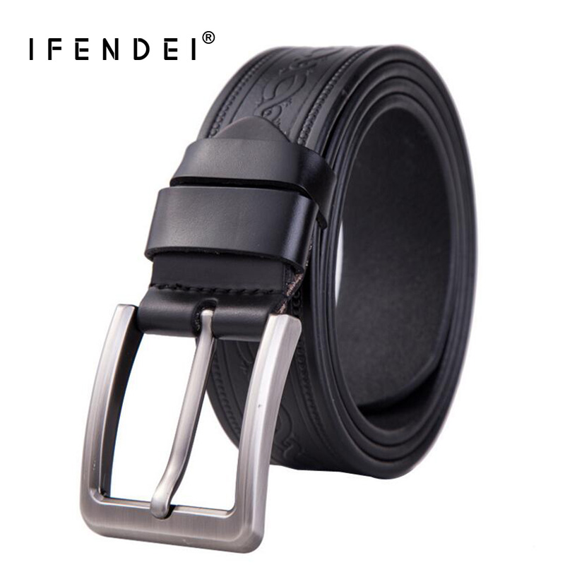 IFENDEI Luxury Black Leather Belt Men's Designer Genuine Leather Belts Retro Pin Buckle Printing Brown Strap Men For Jeans 130cm