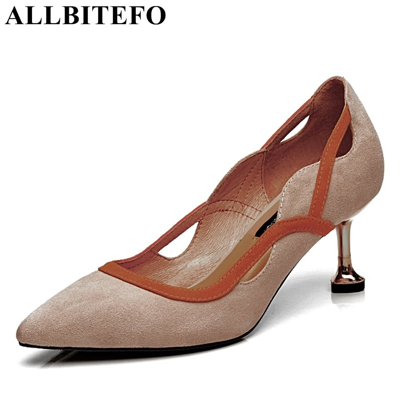 ALLBITEFO High quality genuine leather sheepskin women pumps high heel shoes sexy party wedding pumps fashion girls high heels flg new modern accessories luxury european style golden copper toothbrush tumbler