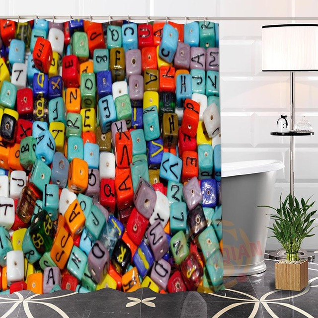 Hot 100% Polyester Custom Popular Funny English Alphabet Fabric Modern Shower  Curtain Bathroom Waterproof New