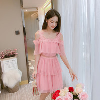 Summer of 2019 new style collar shoulder LACE CAKE dress small fresh fairy little sling Chiffon dresses flowers hollow out