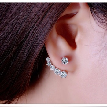 925 Sterling Silver Stud Earrings For Women Wedding Engagement Fashion Jewelry Trendy Style Sparkling Cubic Zirconia Wholesale 3