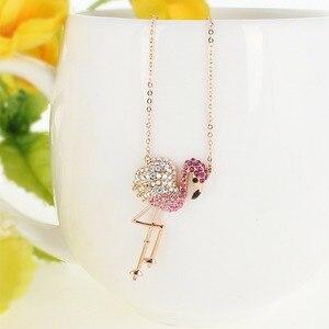 Image 2 - Tuliper Подвеска Flamingo Ketting Crystal Animal Hanger Voor Vrouwen Partij Sieraden Collier Collares Bijoux 목걸이 Femme Slinger