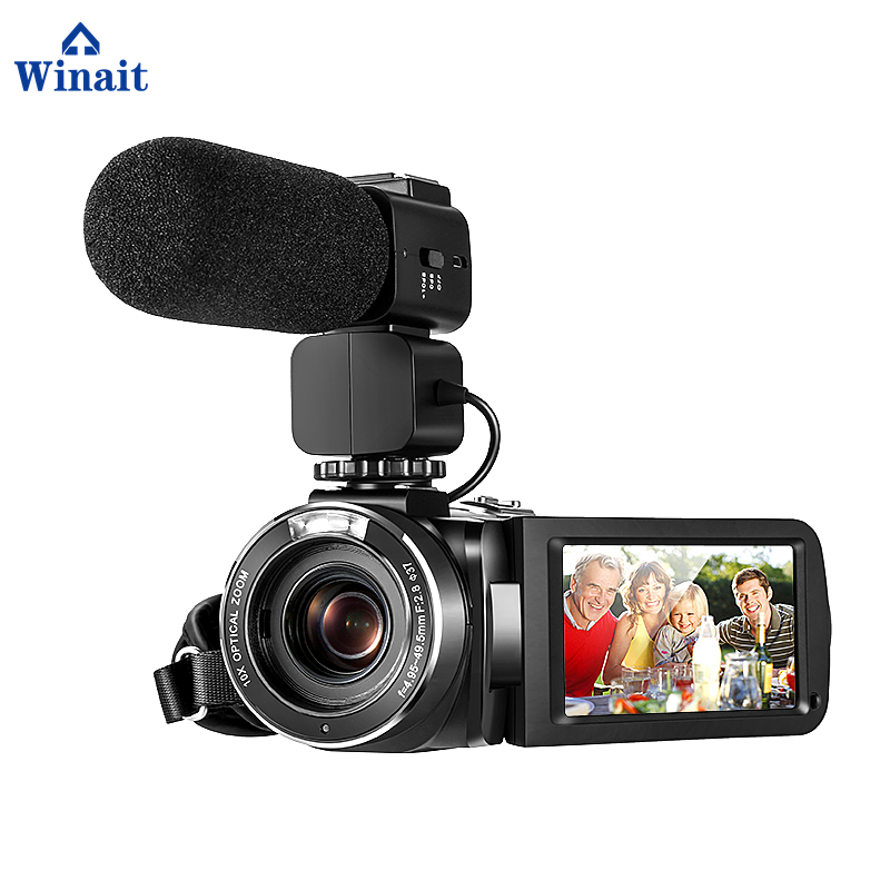 Winait DIS intelligent anti shake HDV Z82 digital video camera with Support external wide angle lens and microphone