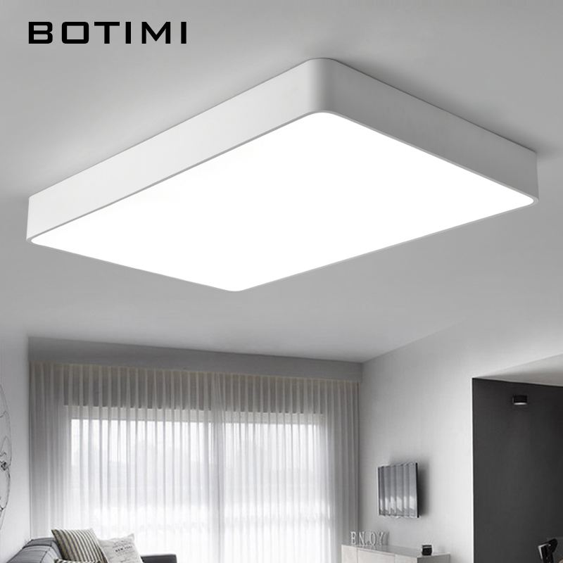 Botimi modern led ceiling lights black white square office for Plafondverlichting