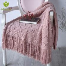 Новое теплое Скандинавское вязаное одеяло, покрывало на кровать, диван, плед, для путешествий, ТВ, одеяло, мягкое полотенце, кровать, плед, гобелен