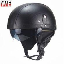 WOSAWE Motorcycle Helmet Retro Personality Half-helmet Summer Pedal Cruiser Leather Moto Protect Gear