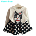 Humor Bear Spring Autumn Children's Kids Girls dog T-shirt Tops+Long Length Pants Sport Casual Tracksuit Clothing Sets Suits
