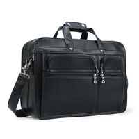 Men Real Leather 15.6 Laptop Briefcase Business Shoulder Bag Tote Computer Bags Satchel Work Bag Lawyer with Back Strap Blac