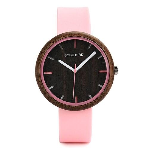 BOBO BIRD Women Watch Wood Ladies Accessories Timepiece Casual Silicone Band Wristwatch relogio feminino J-R28   Fotoflaco.net