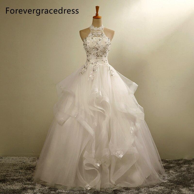 Forevergracedress New Design Long font b Wedding b font Dress White Halter Applique Tulle With Lace