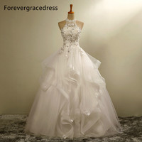 Forevergracedress New Design Long Wedding Dress White Halter Applique Tulle With Lace Up Back Bridal Gown