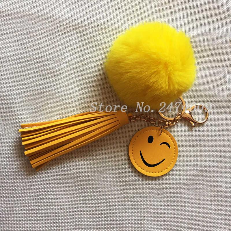 Fluffy Rabbit Fur Pom Pom Pompom Artesanal Chaveiro Emoji Smiley Couro Borla Chaveiro Llavero Chaveiro Pingente Encanto do Saco Das Mulheres